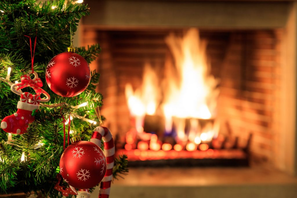 Christmas Tree in Front of Burning Fire