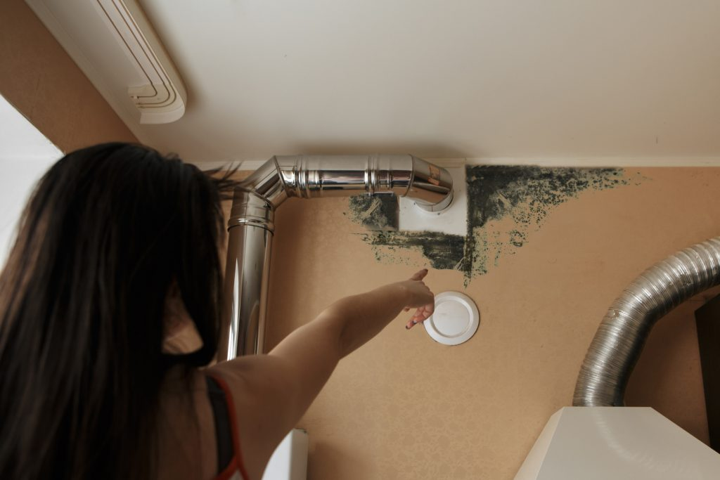 Girl Pointing to Mold on the Wall